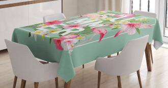 Tropical Retro Flowers Tablecloth