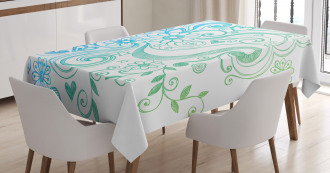 Ombre Sketchy Floral Tablecloth