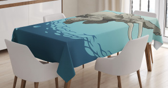 Elephant in Tropic Ocean Tablecloth