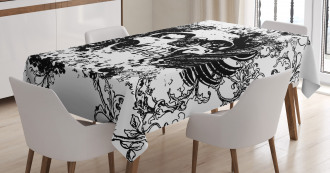 Dark Horror Scary Skull Tablecloth