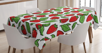 Juicy Strawberries Leaves Tablecloth