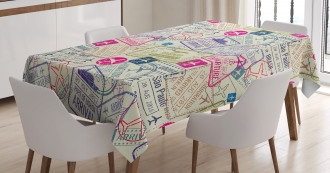 Passport Stamps Cities Tablecloth