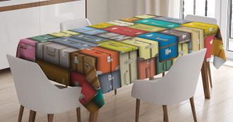 Colored Travel Suitcase Tablecloth