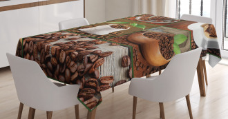 Coffee Beans and Bags Tablecloth
