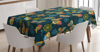Butterflies and Flowers Tablecloth