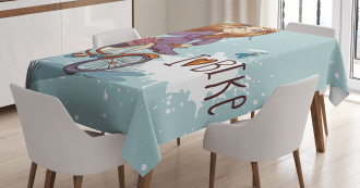Cartoon Girl with Bike Tablecloth