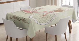 Postcard from Paris Bicycle Tablecloth