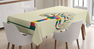Colorful Tree and the Leaf Tablecloth