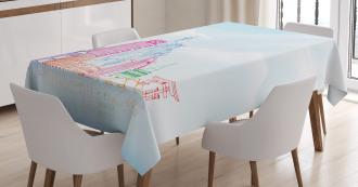 European Cities Landmarks Tablecloth