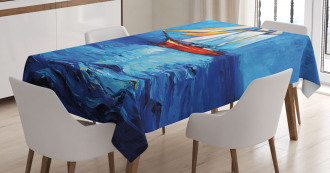 Sail Boat Art Picture Tablecloth
