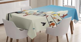 Animals Bird Silhouettes Tablecloth