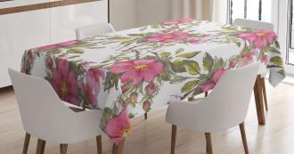 Dog Rose Garden Floral Tablecloth