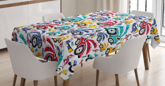 Vintage Rainbow Cartoon Tablecloth