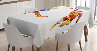 Colorful Footballers Tablecloth