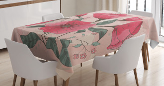 Pink Romantic Flowers Tablecloth