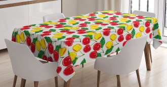 Graphic Colored Cherries Tablecloth