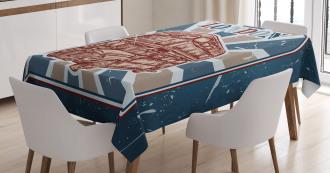 English Bus Grunge Art Tablecloth