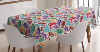 Funny Monsters Cartoon Tablecloth
