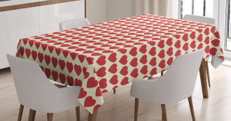 Vibrant Red Hearts Tablecloth