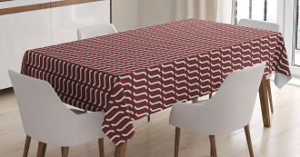 Cutrvy Wavy Lines Dark Tile Tablecloth