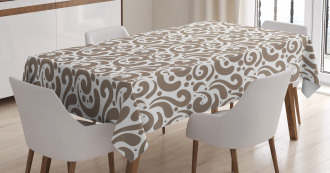 Swirled Bold Lines Dots Tablecloth
