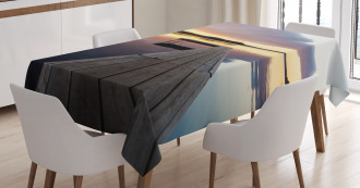 Rustic Pier Sunset Lake Tablecloth
