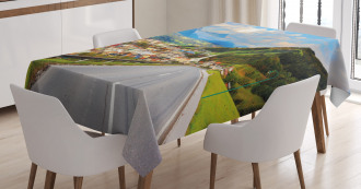 Road Alps Small Town Tablecloth