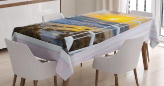 Open Window Sunrise Sea Tablecloth