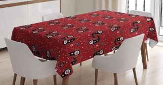 Paisley Flowers Dots Tablecloth