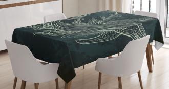Doodle Coral Reef Seaweed Tablecloth