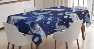 Whale Planet Cosmos Tablecloth