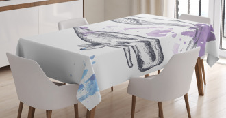 Grunge Mammals Murky Art Tablecloth
