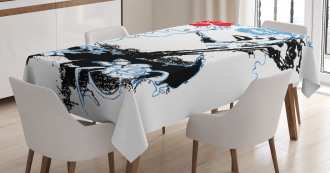 Grunge Vintage Woman Art Tablecloth
