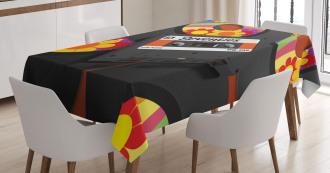 Cassette Vinyl 70s Tablecloth