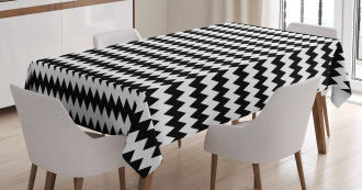 Zigzags Black and White Tablecloth