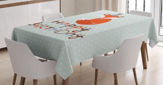 Cute Fox Greeting Text Tablecloth