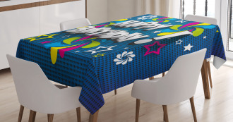 Happy Greeting Stars Swirl Tablecloth