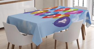 Balloons Letters Sky Tablecloth