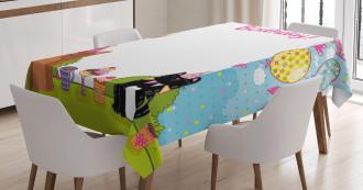 Cake Balloon Heart Tablecloth