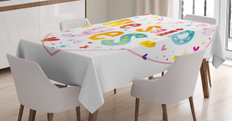 Hearts Flowers Tablecloth
