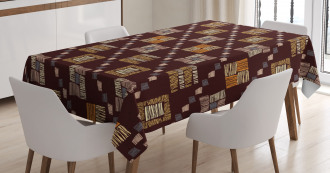 Square Shaped Tribal Tablecloth