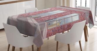 Red Brick Wall Loft City Tablecloth
