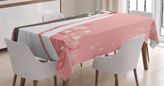 Bride Groom Dancing Floral Tablecloth