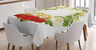 Roses Wedding Rings Tablecloth