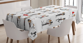 Cute Couple on Clouds Tablecloth