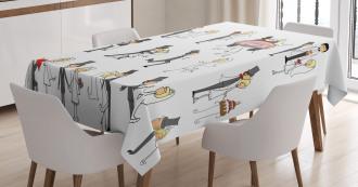 Cartoon Couple Funny Tablecloth