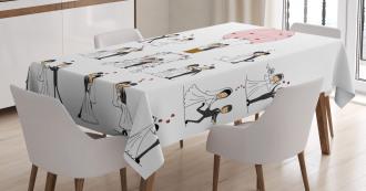 Bride Groom Cartoon Tablecloth