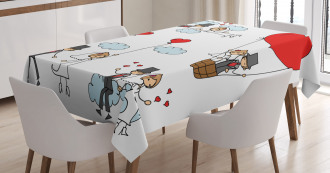 Newlyweds Caricature Tablecloth