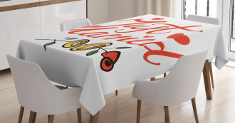 Just Married Rose Rings Tablecloth