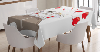 Newlywed Couple in Car Tablecloth